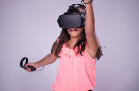 A child using a VR device